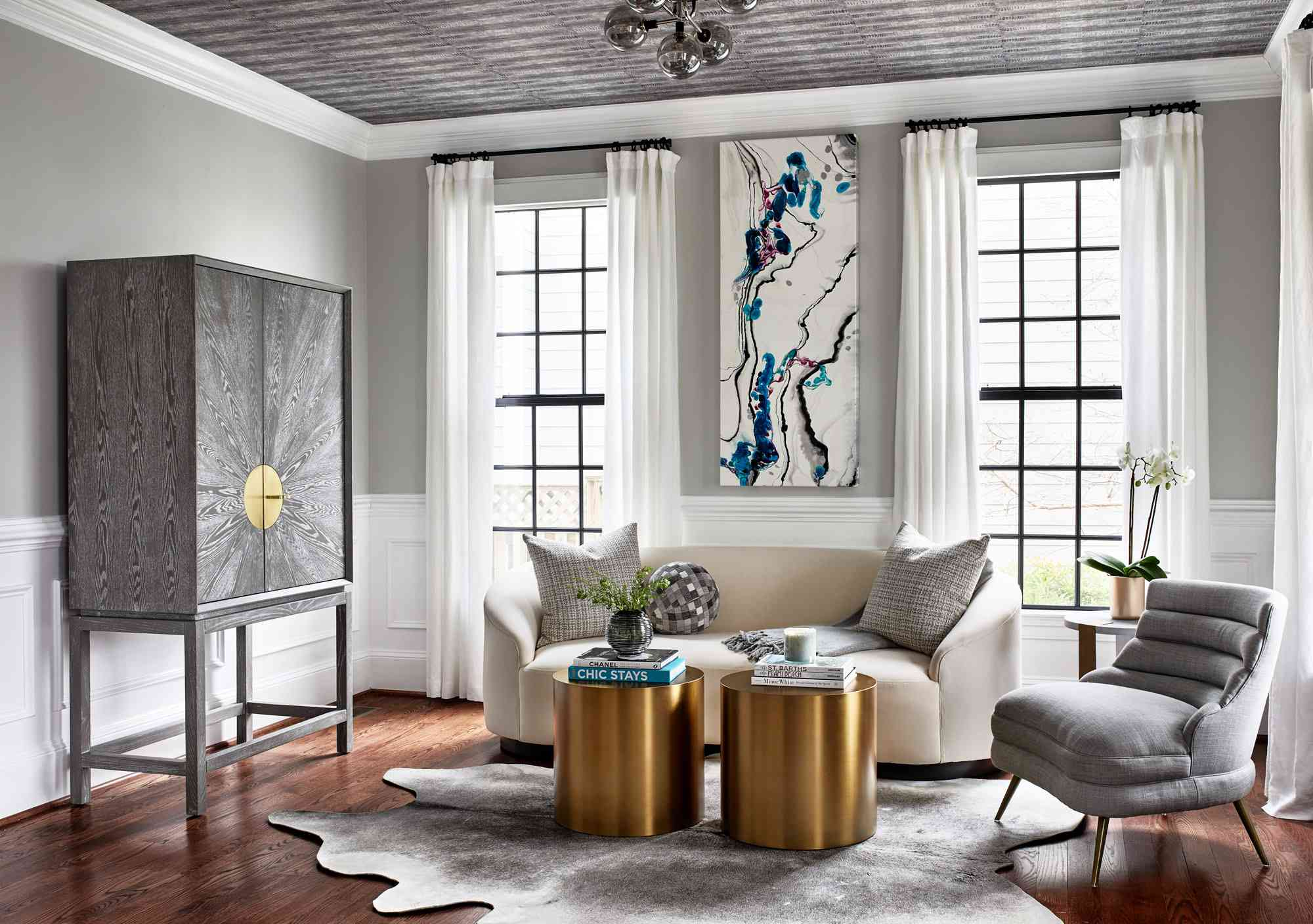 gray living room with painted ceiling