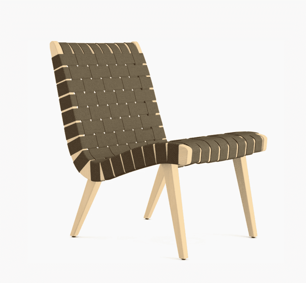 A woven lounge chair, currently for sale at Design Within Reach