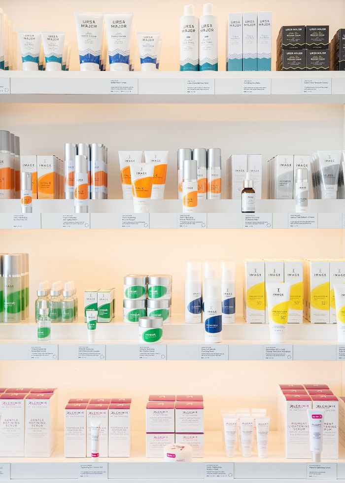 Skincare products at Heyday Los Angeles