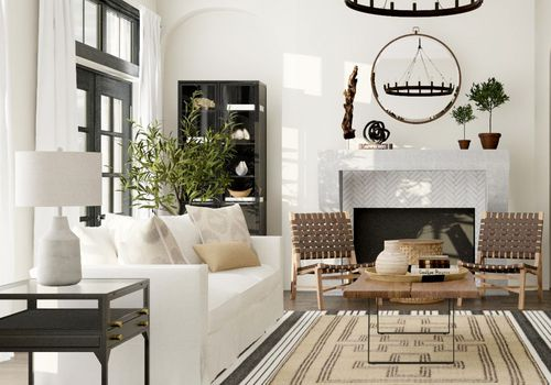 modern farmhouse style living room with white sofa and iron accents