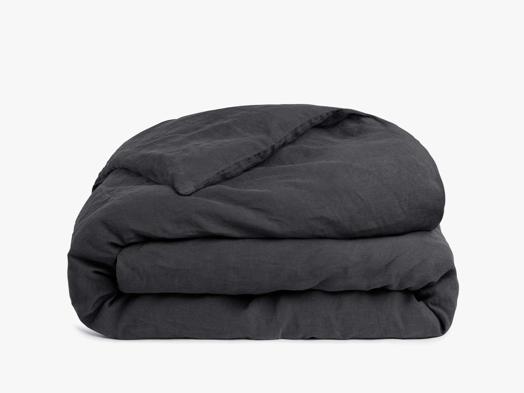 washed black linen duvet cover in coal