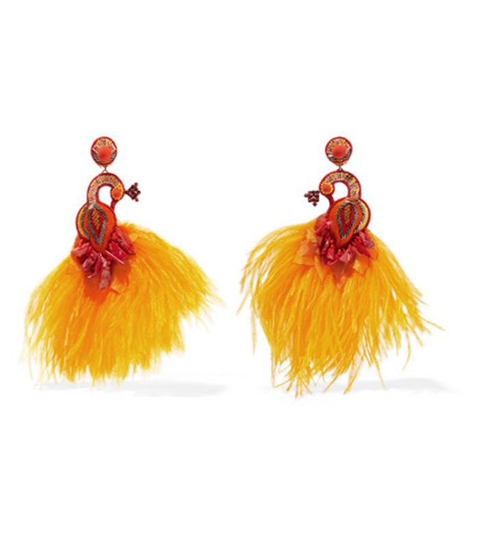 Passerine Feather and Crystal Clip Earrings