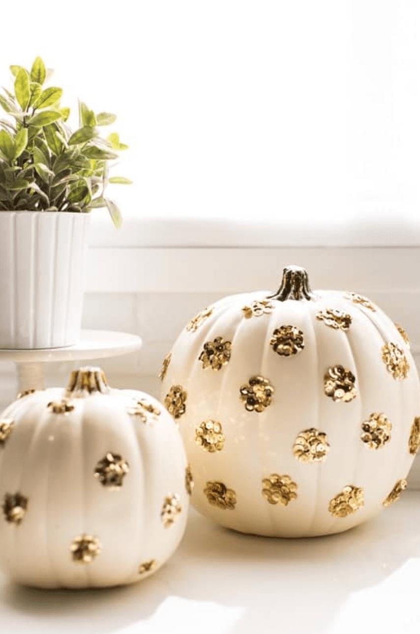 Pumpkins with gold dots