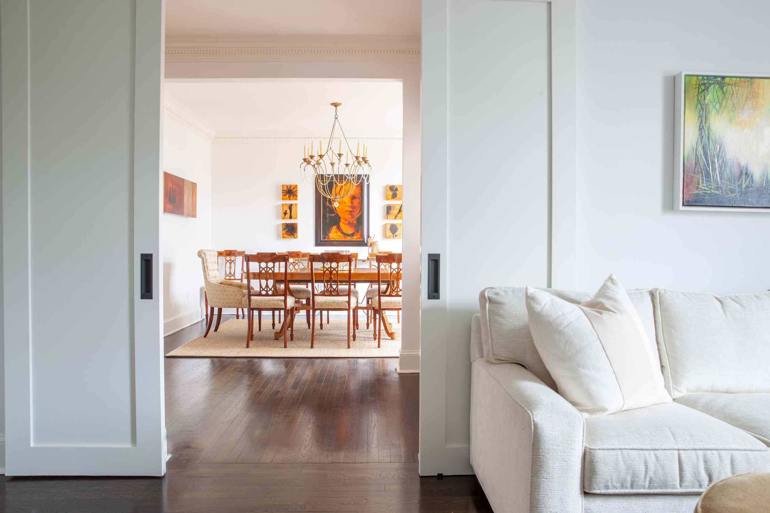 Warm colored dining room