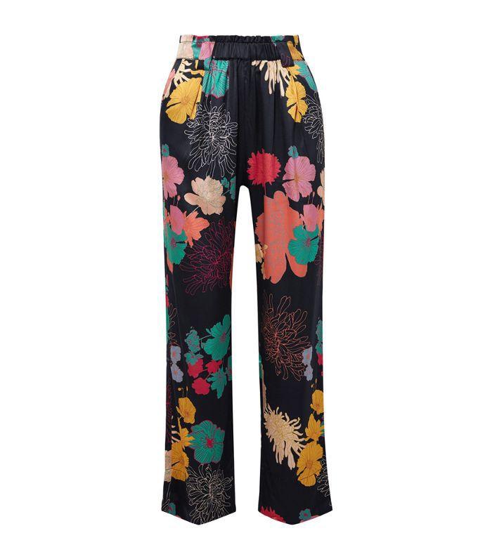 Vinnie Floral-print Silk-blend Satin Straight-leg Pants