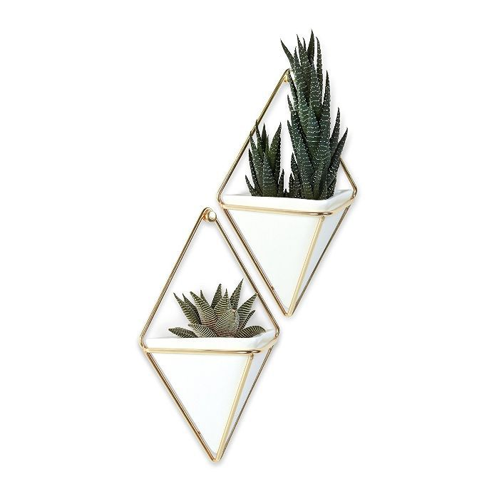 Trigg Hanging Container, Small, Set of 2, White/Brass