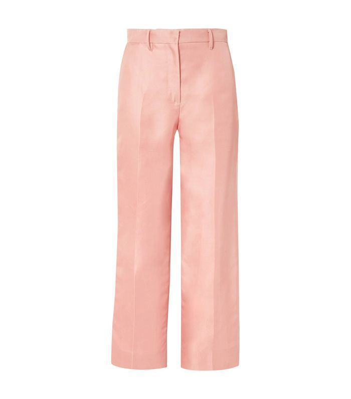 Silk-shantung Straight-leg Pants