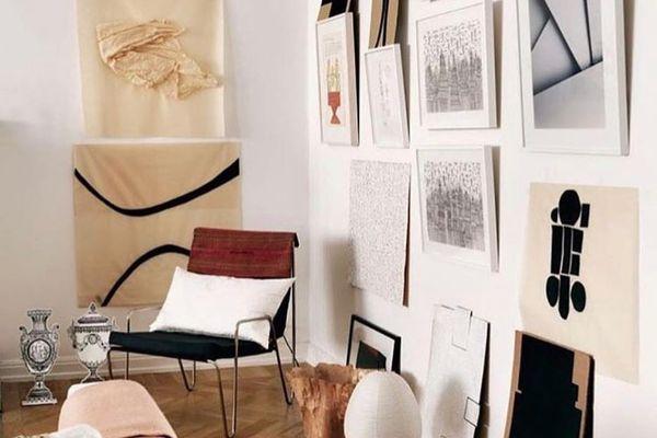 Danish living room with minimalistic art.