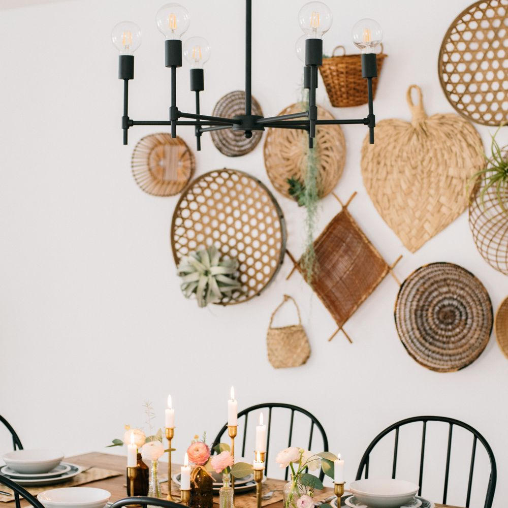 Basket wall mural above a wooden dining table