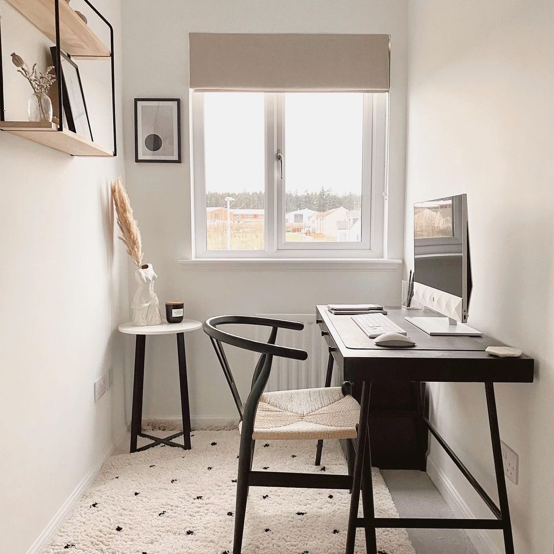 Cream and black home office