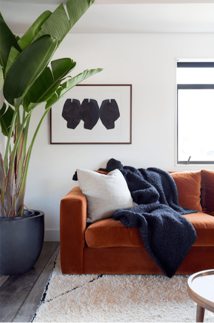 Rust-color sofa with shearling blanket and rug.