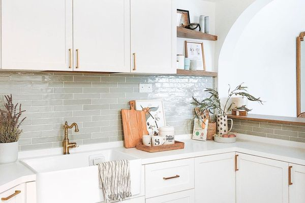 Green tile in kitchen
