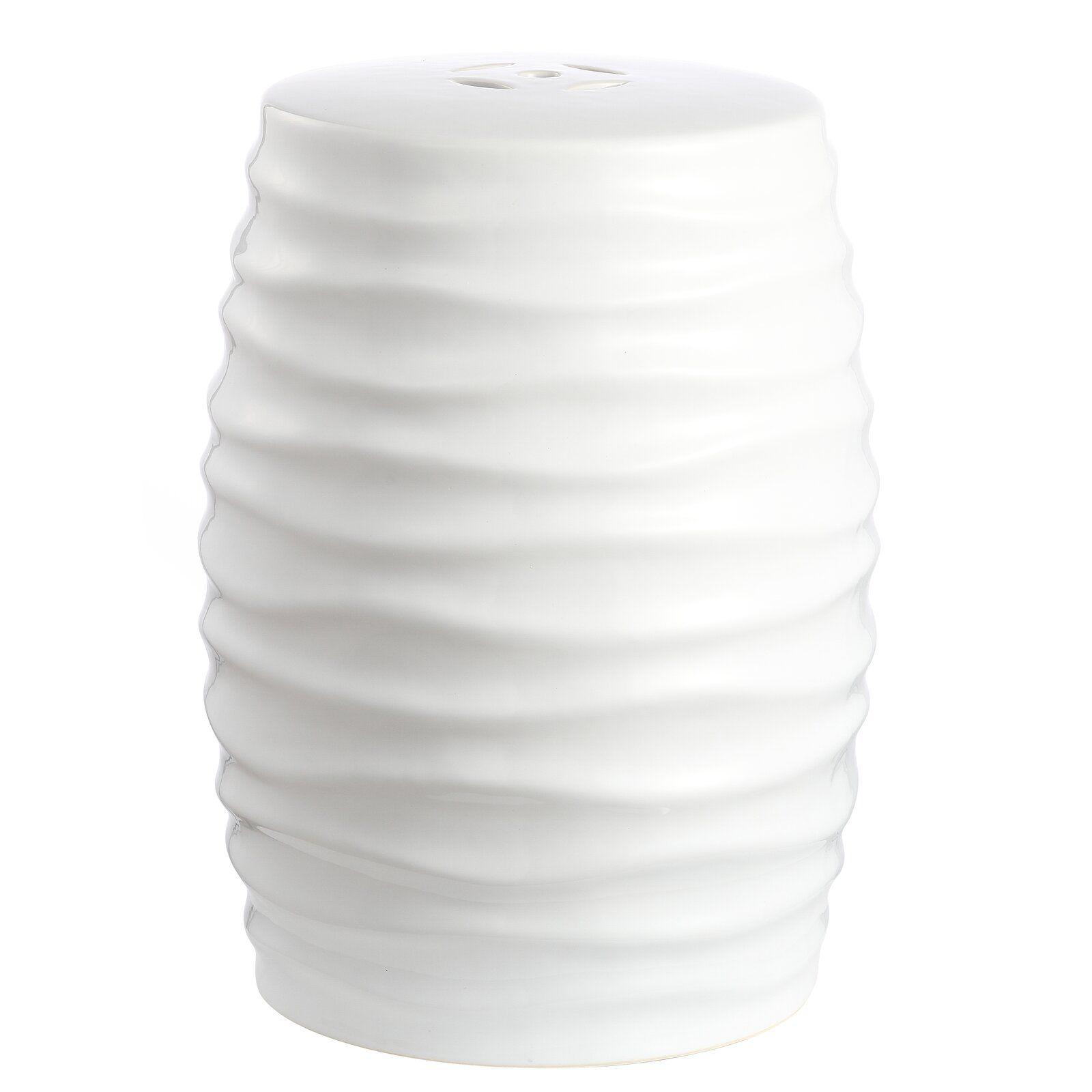 White Studebaker Ceramic Garden Stool