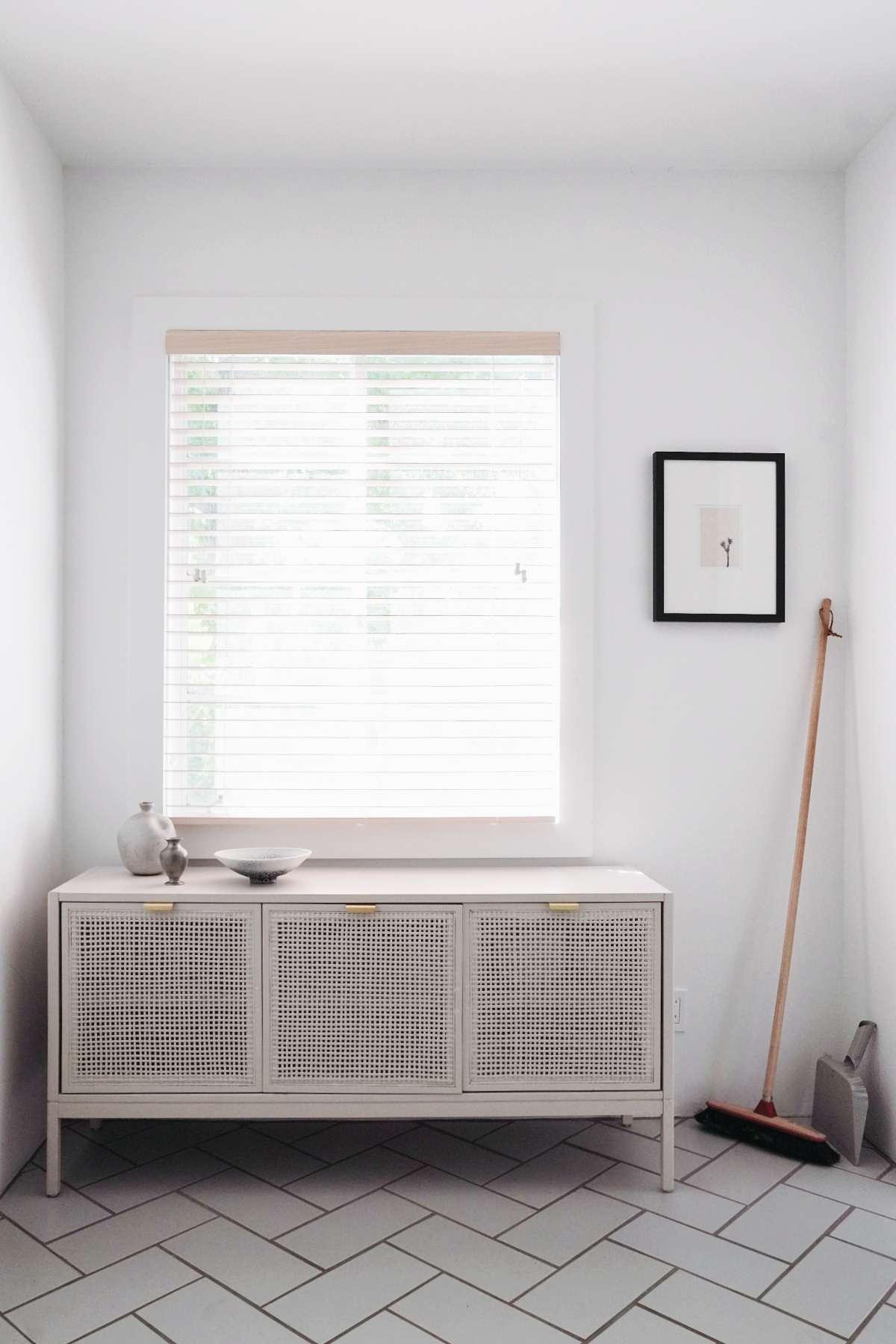 best kitchen ideas - DIY kitchen rattan console for dish storage