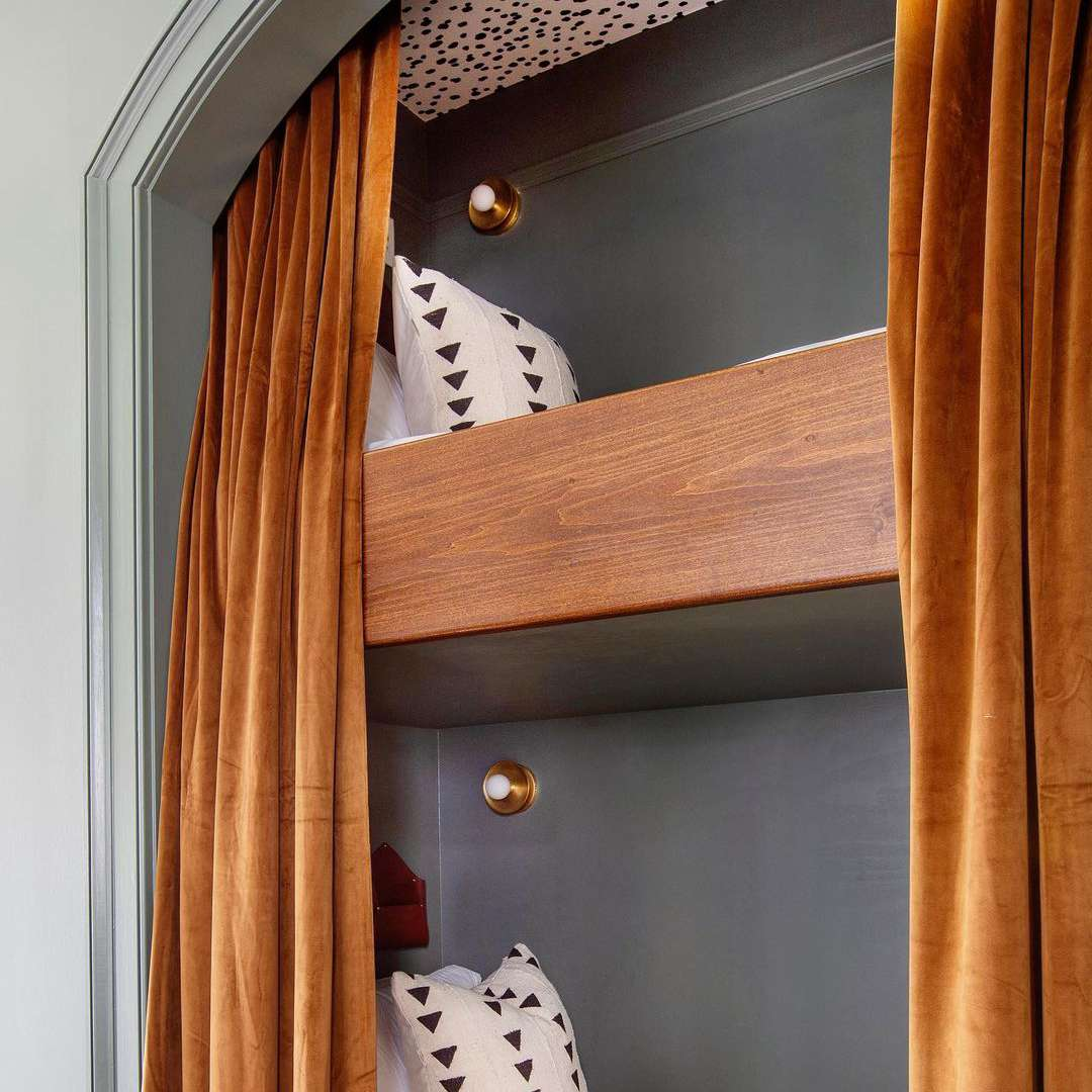 Bunk bed with curtains