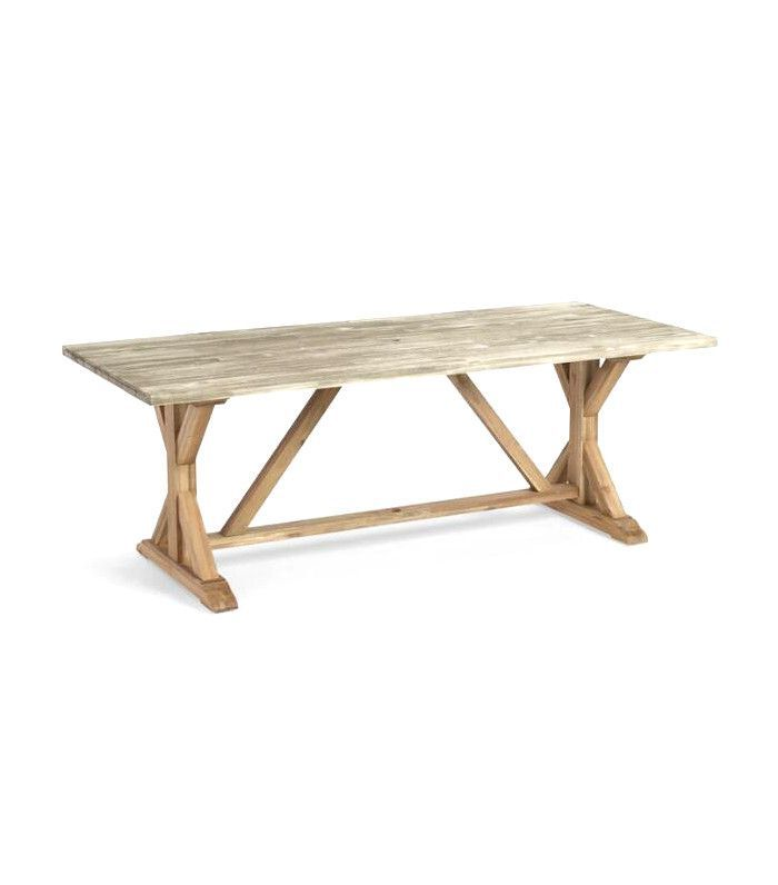 World Market Two Tone Wood San Remo Outdoor Patio Trestle Dining Table: Gray by World Market