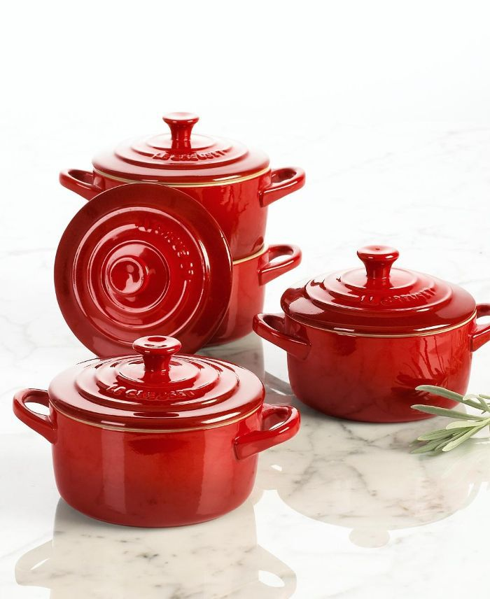 Stoneware Set of 4 Petite Casseroles with Cookbook
