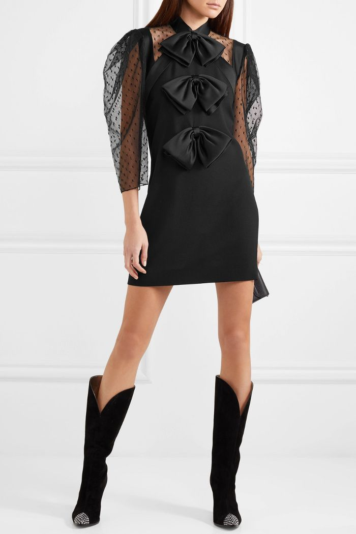 Bow-embellished Swiss-dot Tulle And Wool-crepe Mini Dress