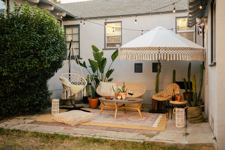 Outdoor patio with plants.