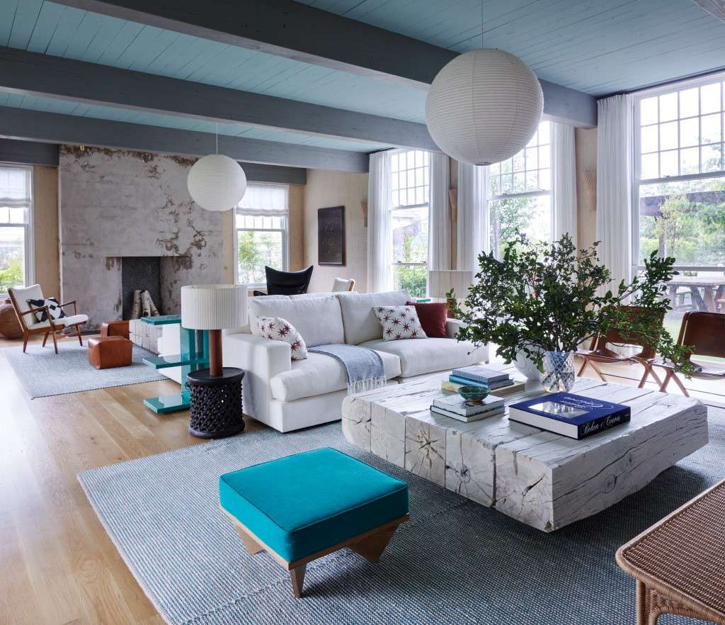 blue with white couch living room