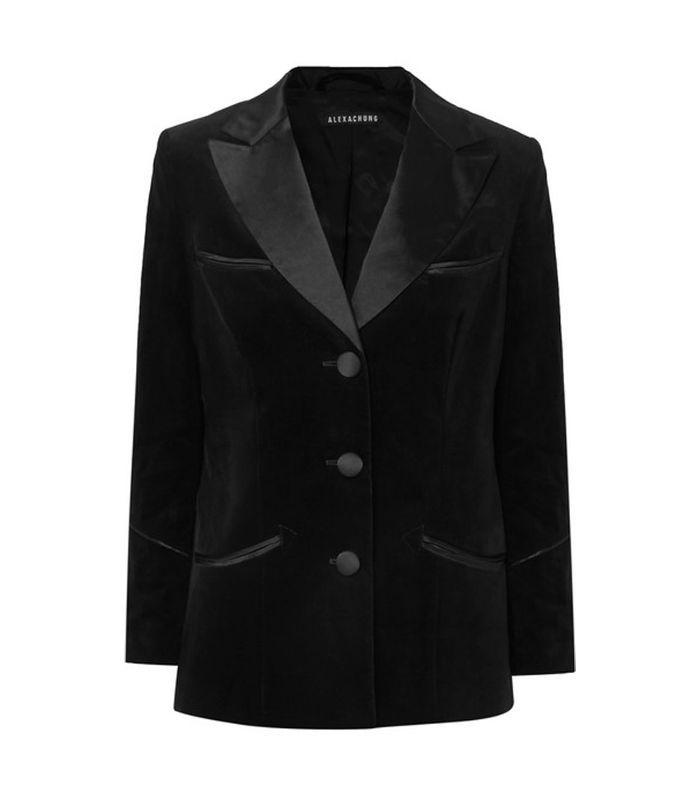 Alexachung Satin-Trimmed Cotton-Velvet Blazer