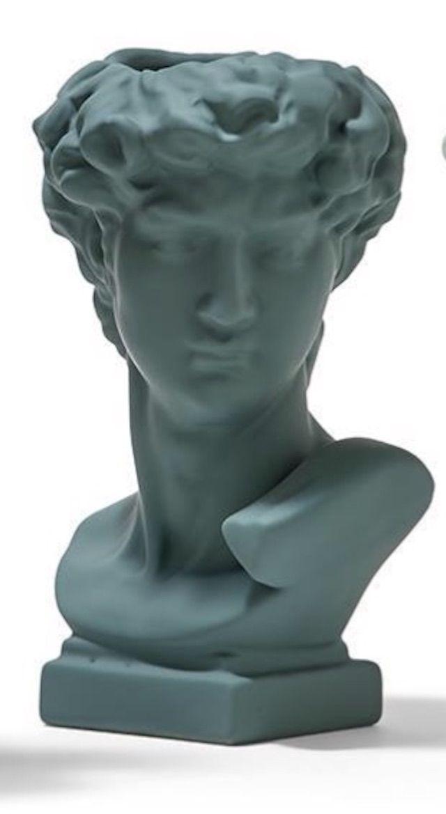 Our Life by Stellas Apollo Grecian Bust Vase in Dark Green
