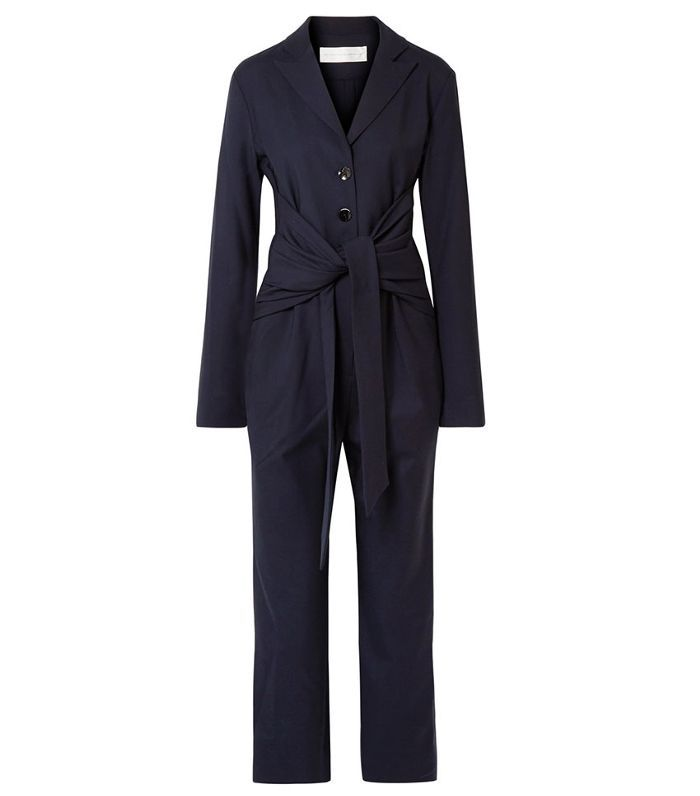 Victoria by Victoria Beckham Tie-Front Silk-Trimmed Stretch-Twill Jumpsuit