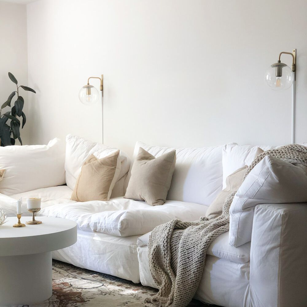 cozy white couch living room