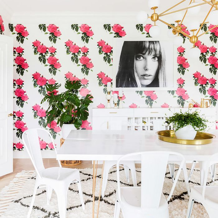 Maximalist Dining Room with colorful wallpaper