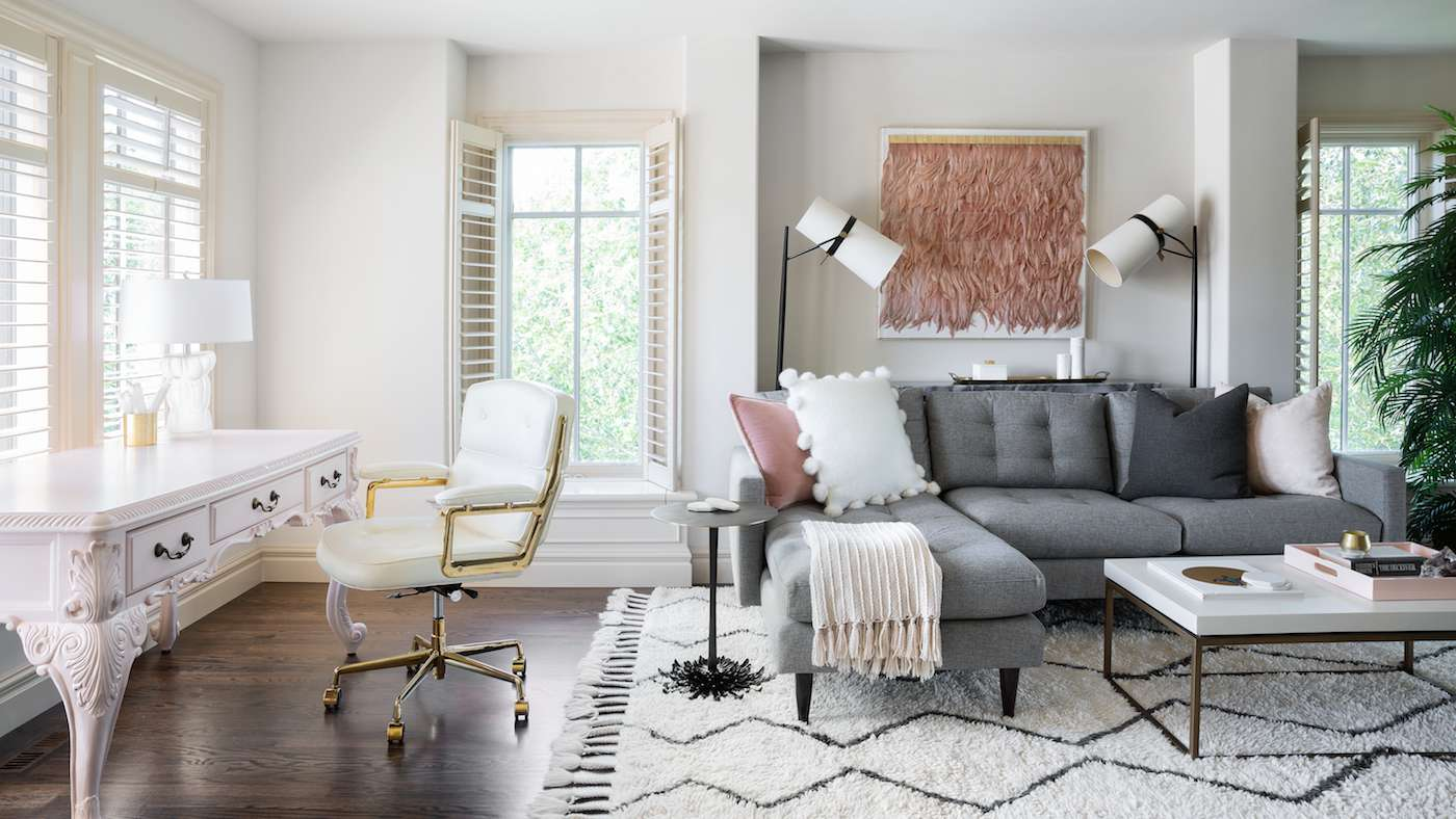 Live and work space in modern bohemian living room