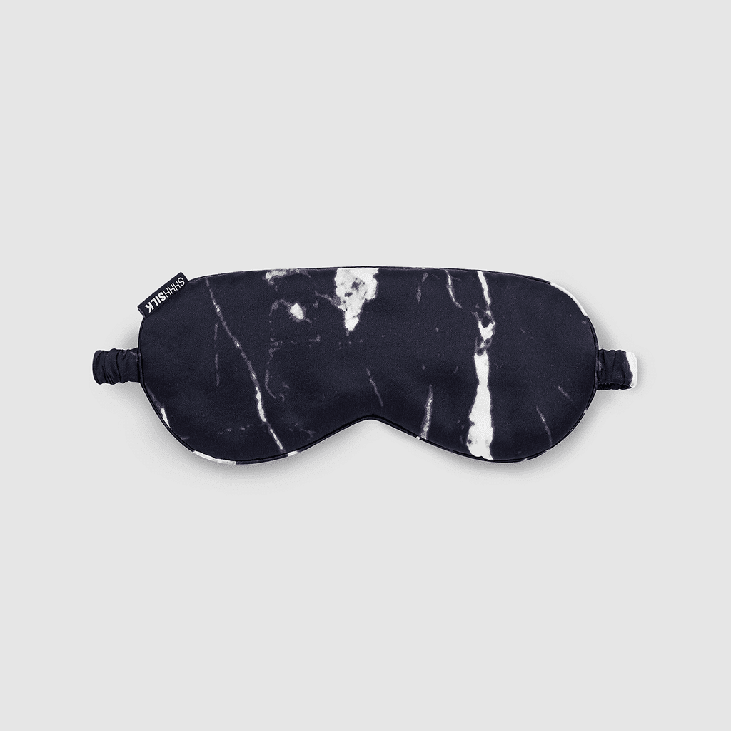 Shhh Silk Black Marble Eye Mask