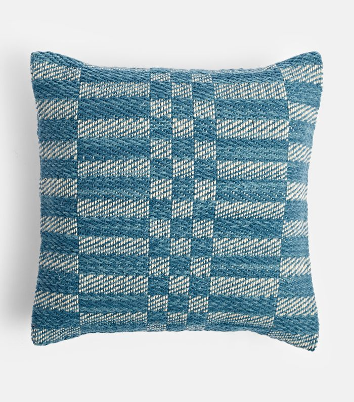 Handwoven Wool Check Pillow Cover