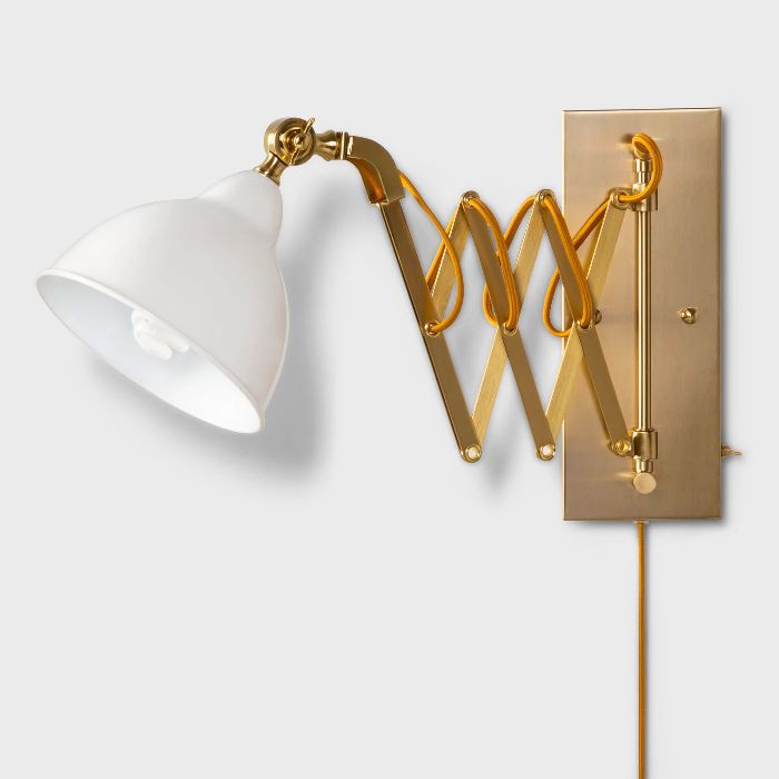 Threshold Accordion Metal Wall Lamp in Gold/White, 29