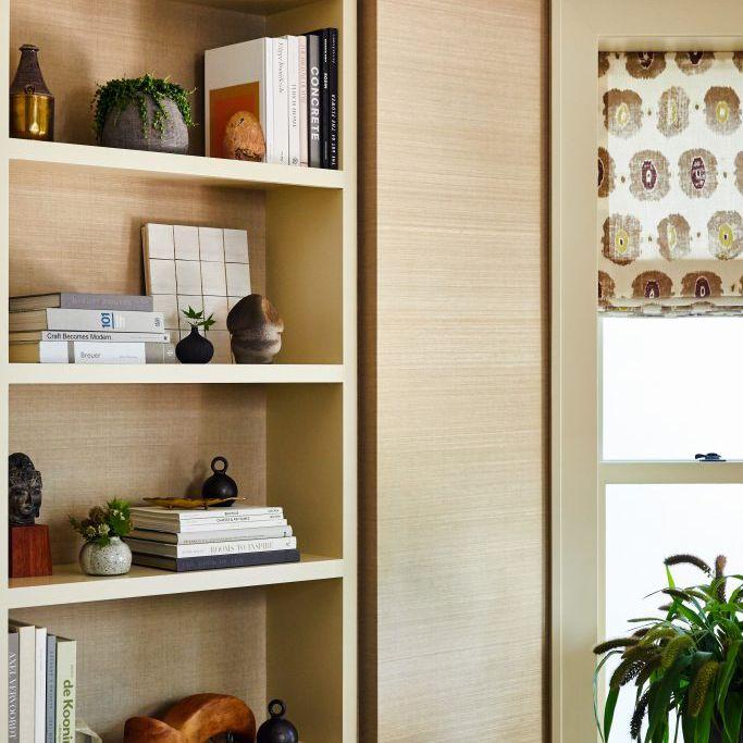 Bookshelf with antique treasures.