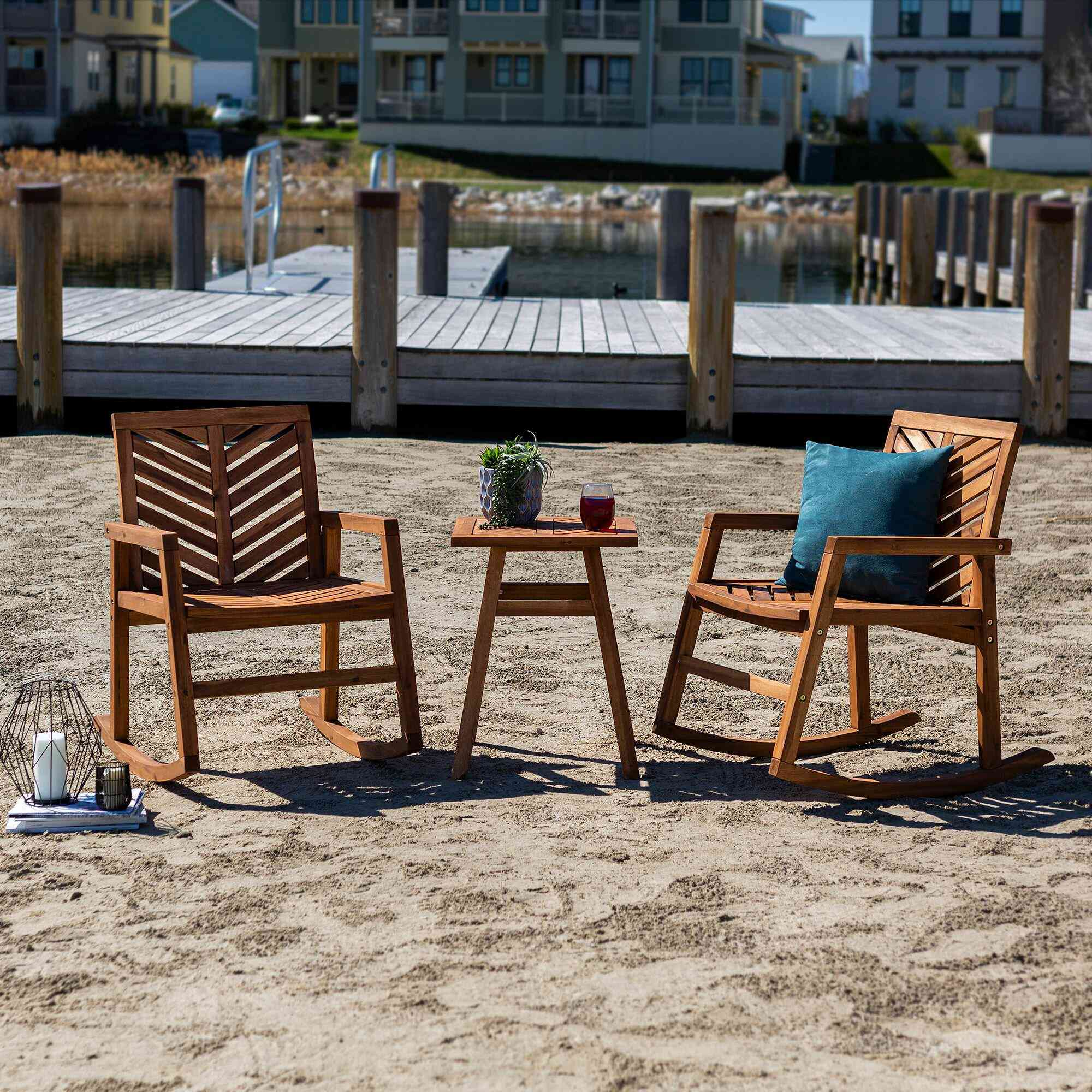 Joss & Main Skoog 3-Piece Outdoor Rocking Chair Chat Set
