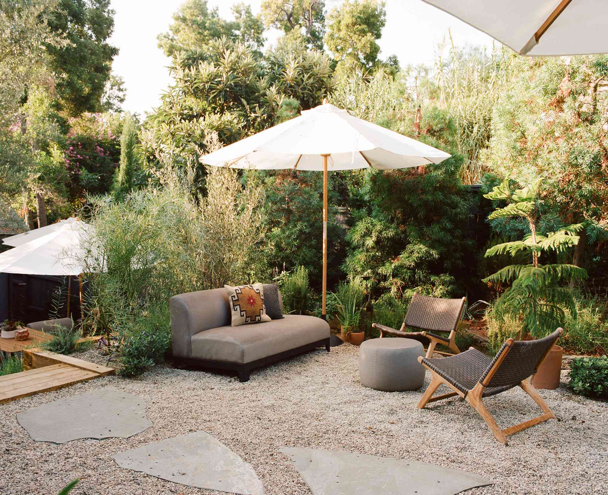 Outdoor patio with gravel