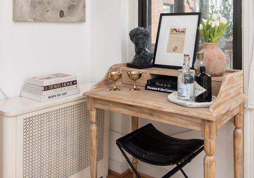Secretary desk as a bar cart.