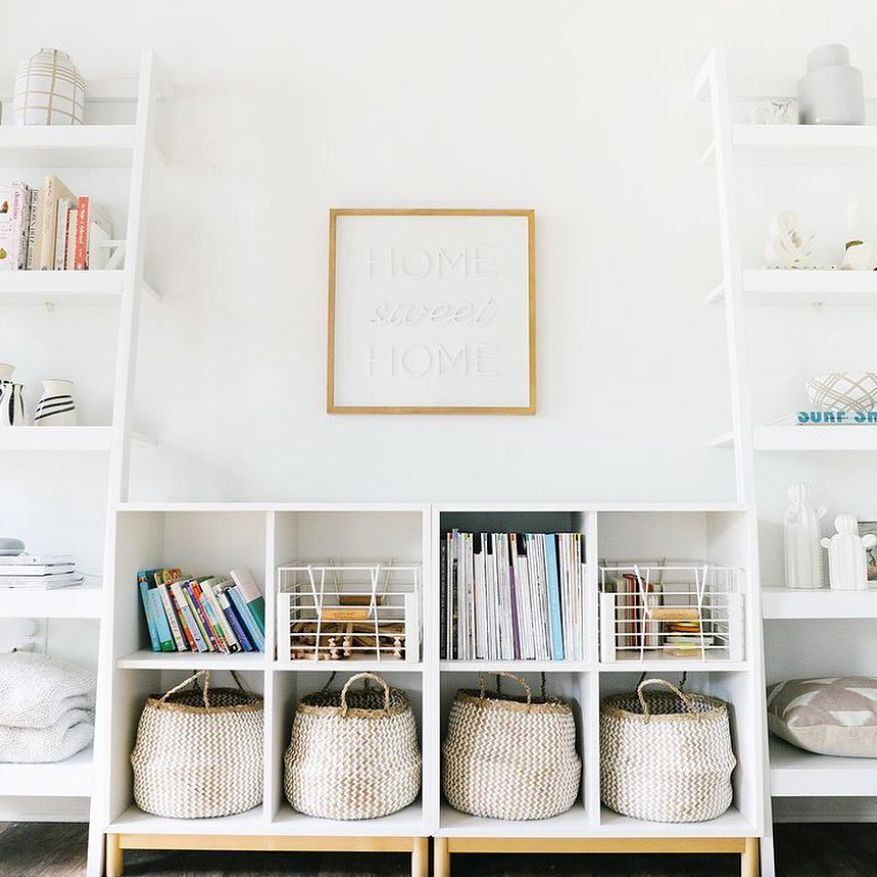 Baskets on low shelves