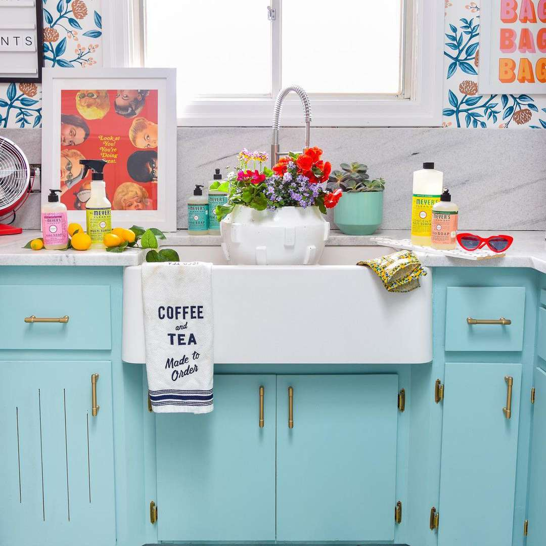 Blue green kitchen cabinets