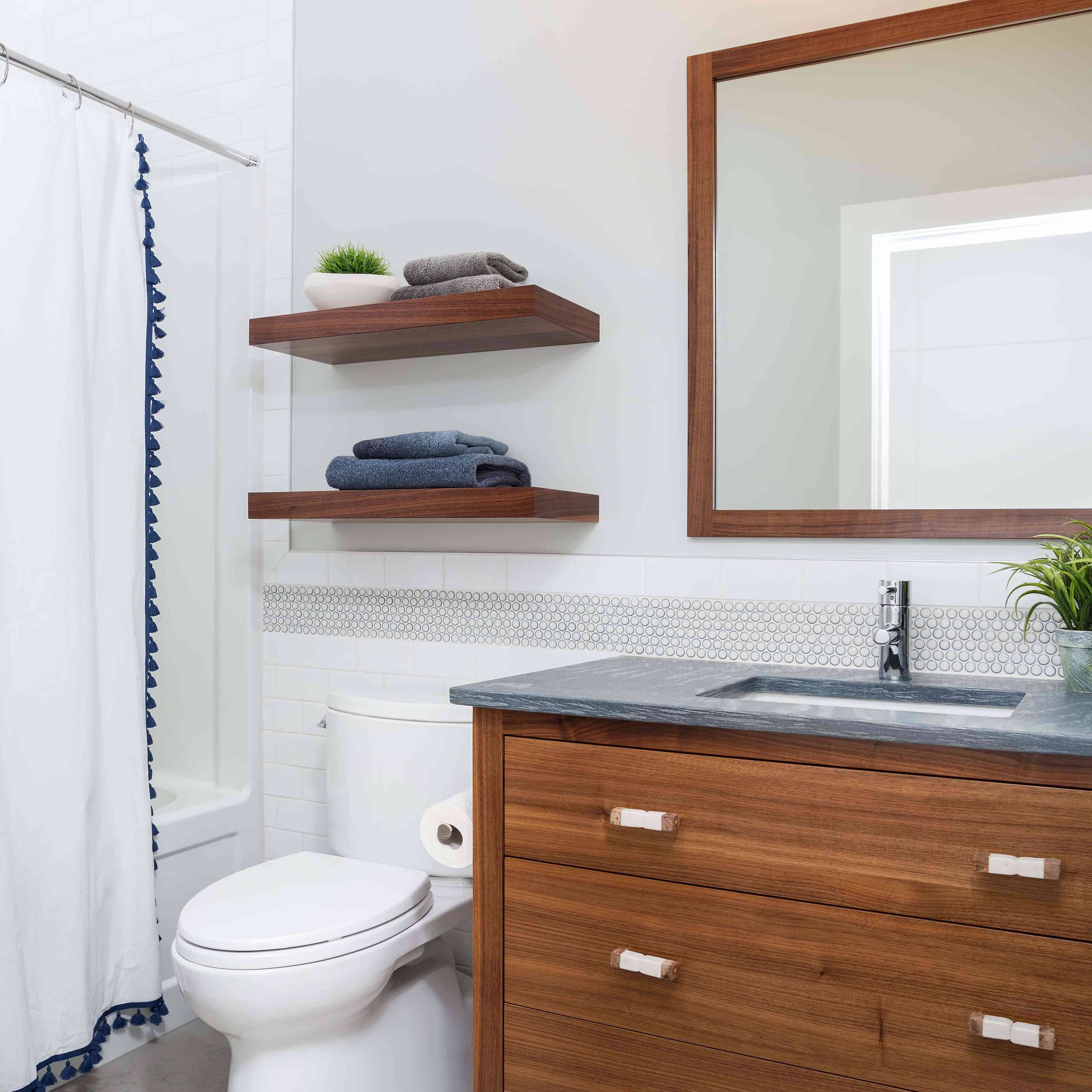 over the toilet storage wood floating shelves