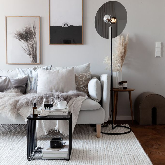 Moody living room with unique lighting.