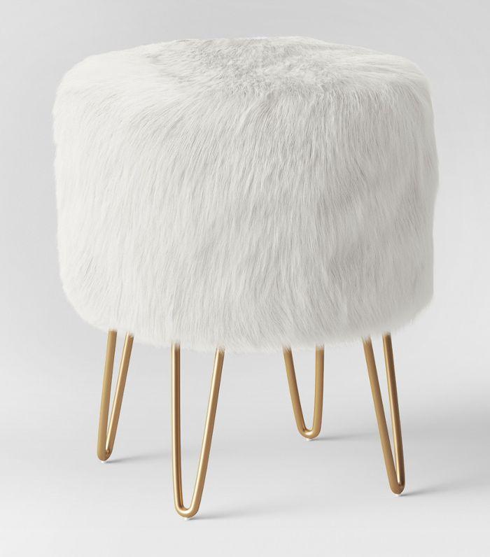 Project 62 Radovre Hairpin Ottoman Faux Fur White