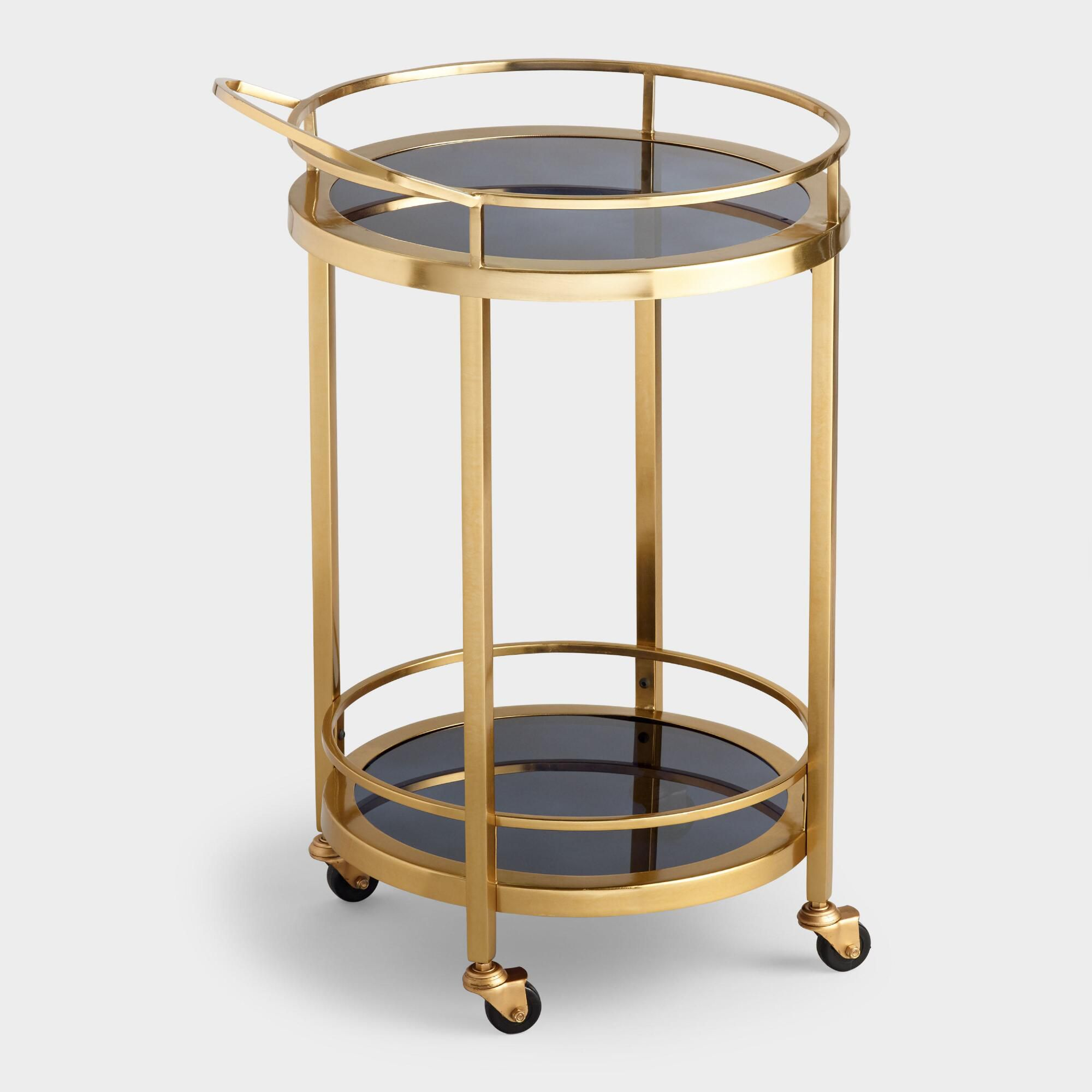 gold bar cart with black glass top