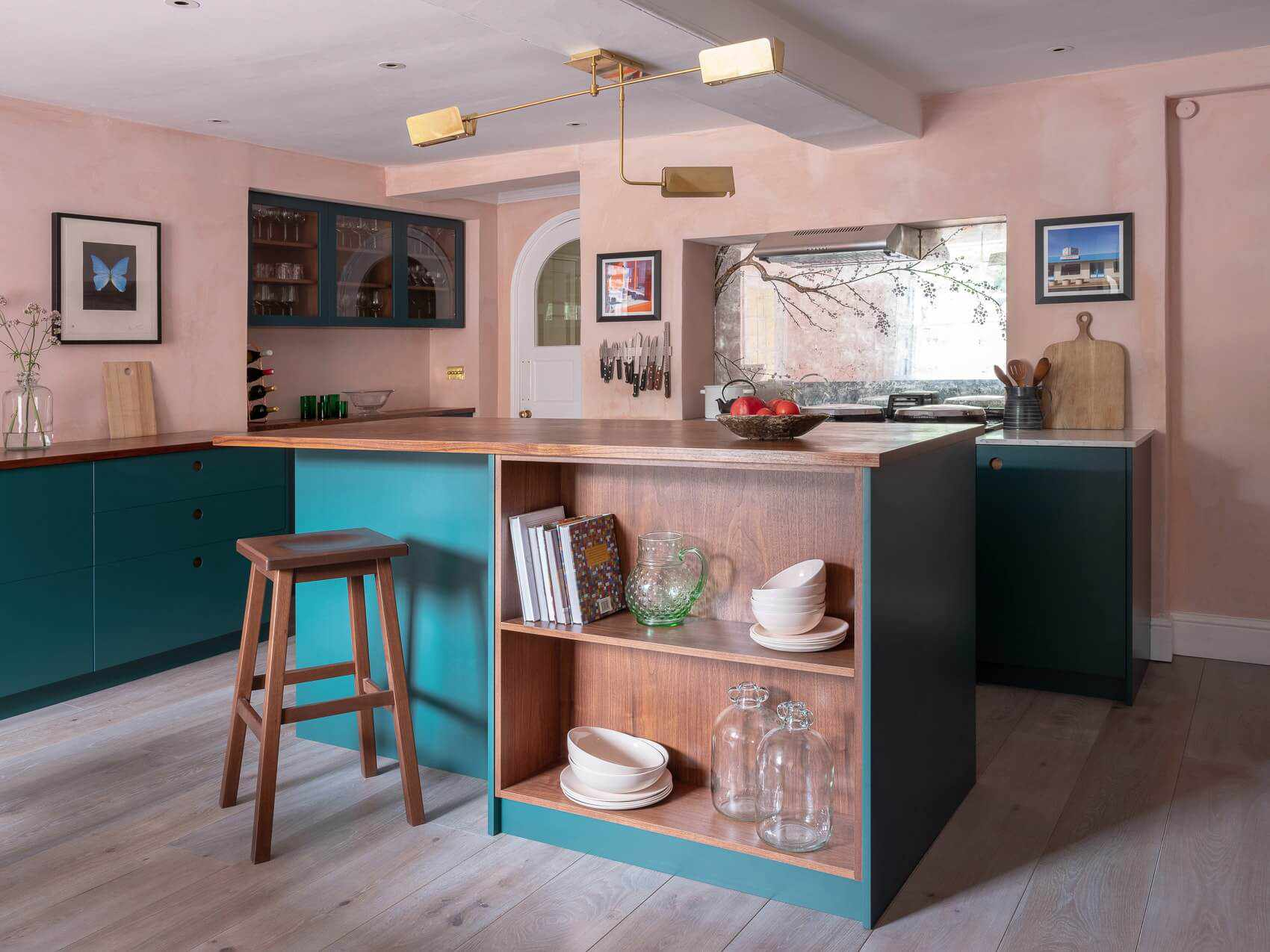 Teal and pink kitchen