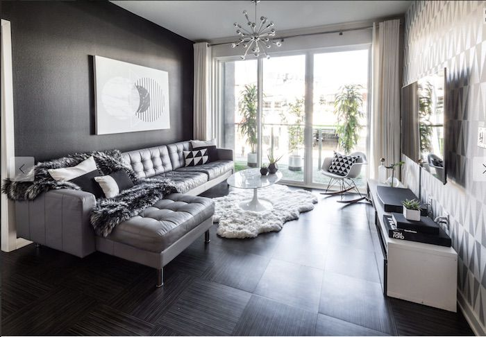 gray monochromatic living room