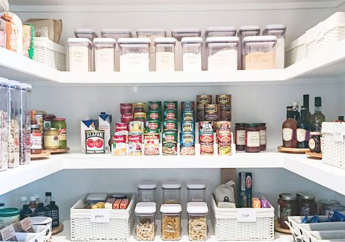 an organized IKEA kitchen pantry