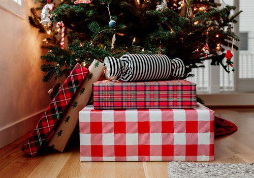 Christmas presents under tree.