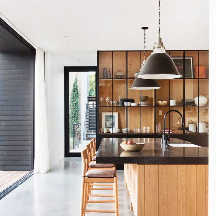 Polished concrete floors in kitchen