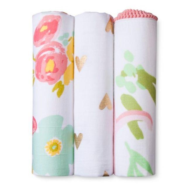 Cloud Island Muslin Swaddle Blankets Floral 3pk