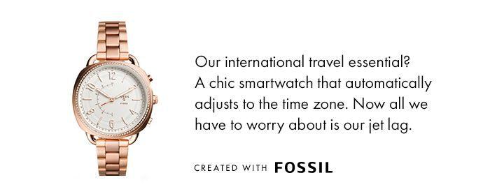 reloj fósil de oro rosa